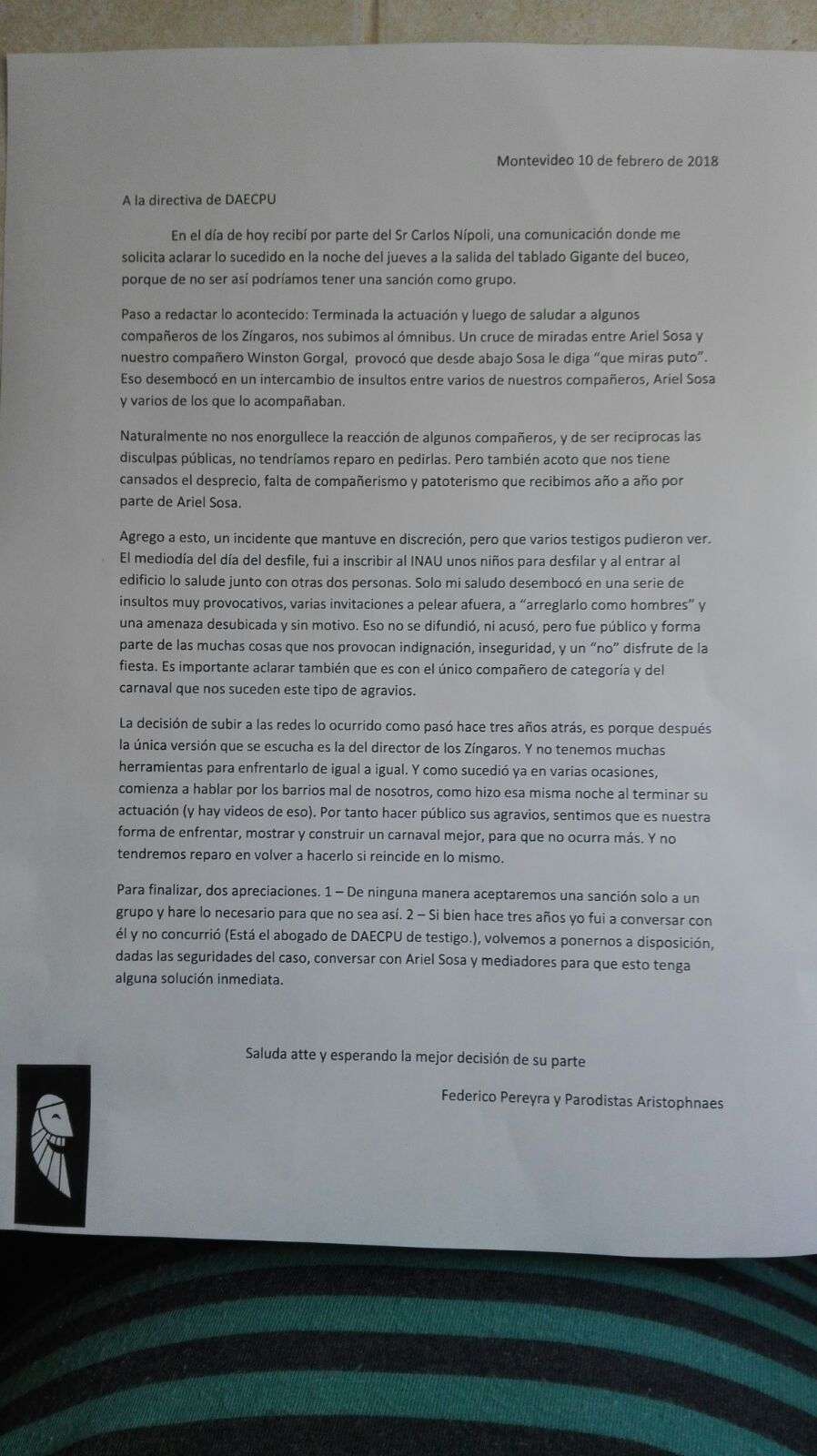 Carta Aristóphanes